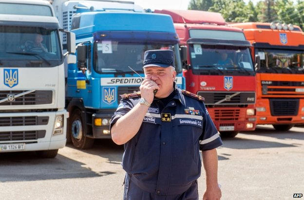 Ukrainian aid lorries in Kharkiv, 14 August