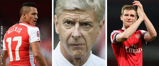 Arsenal forward Alexis Sanchez, manager Arsene Wenger and defender Per Mertesacker