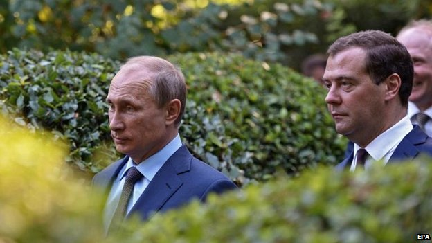 President Putin and PM Dmitry Medvedev visit Yalta in Crimea, 14 Aug