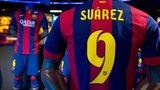 A shirt of new FC Barcelona player Luis Suarez are seen on display at the FC Barcelona official store on July 12, 2014 in Barcelona, Spain.