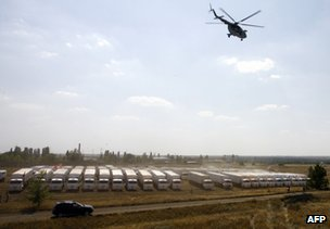 Russian aid convoy parked near Ukrainian border, 14 August