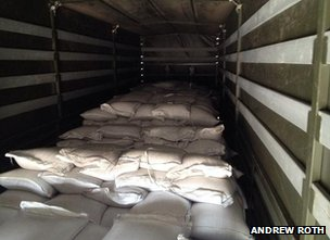 Interior of Russian aid lorry, 14 August