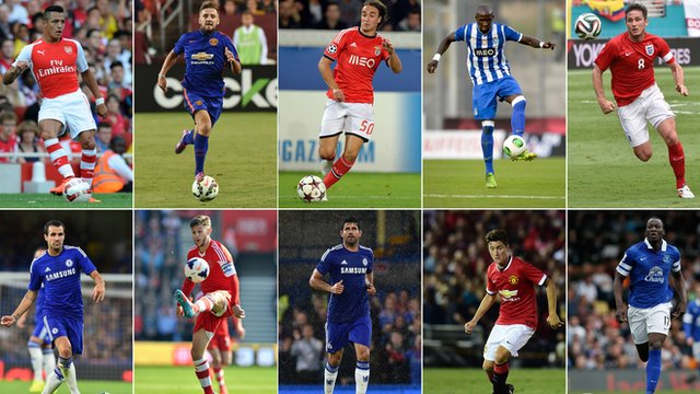 Alexis Sanchez, Manchester United's new English defender Luke Shaw, Liverpool's new Serbian forward Lazar Markovic, Manchester City's new defender Eliaquim Mangala, Manchester City's new on-loan midfielder Frank Lampard, Chelsea's new Spanish midfielder Cesc Fabregas, Liverpool's newly-signed English midfielder Adam Lallana