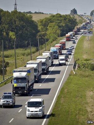 Ukrainian aid convoy near Kharkiv, 14 August