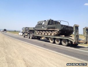 Russian armour on the move in southern Russia, 14 August