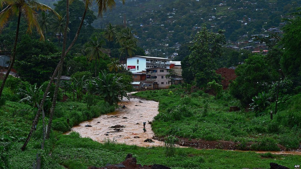 A photo taken on 13 August  2014 shows a view of a river in Freetown, Sierra Leone