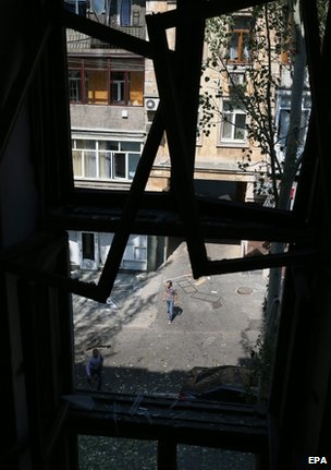 A shattered window in Donetsk, 14 August