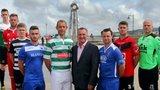 Kevin Ratcliffe with captains of Welsh Premier League sides