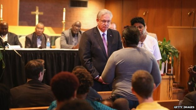 Governor Jay Nixon met faith leaders at a church