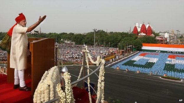 Indian PM Narendra Modi, addresses the nation from the Red Fort on Independence Day in Delhi, Friday, Aug 15, 2014
