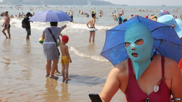 Picture of a woman in Qingdao wearing a Face-kini.