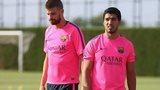 Luis Suarez trains with Barcelona for the first time since his £75m move form Liverpool