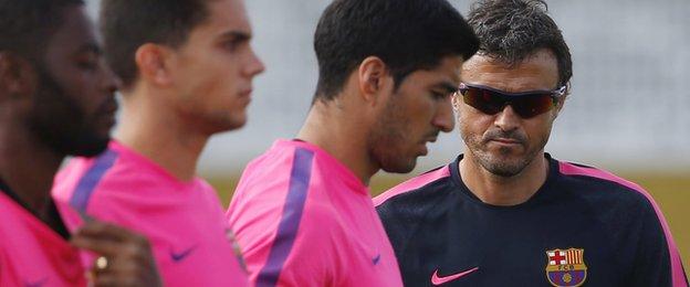 Luis Suarez and Barcelona manager Luis Enrique
