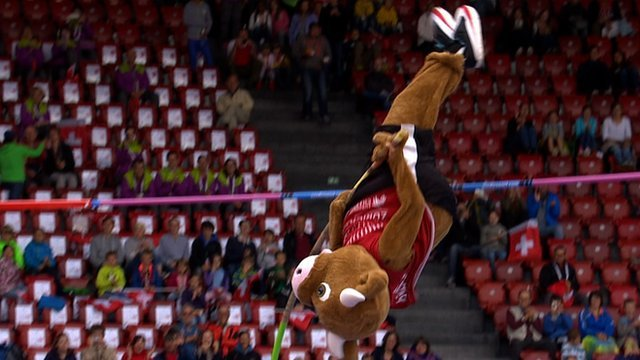 European Championship mascot Cooly pole vaults