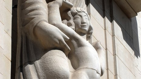 Statue of Ariel on front of Broadcasting House