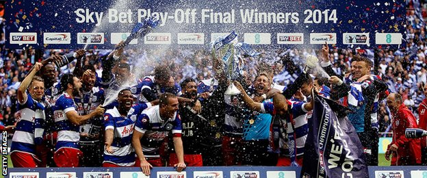 Queens Park Rangers celebrate winning the Championship play-off in 2014