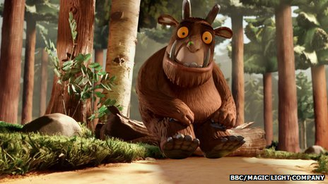 The Gruffalo sitting in a wood