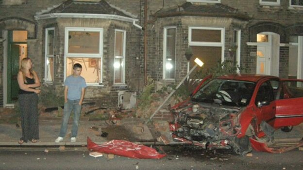 Scene of the crashed car on St Peter's Street