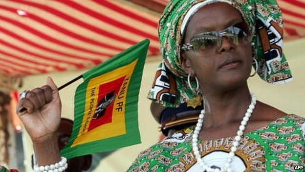 Grace Mugabe pictured in a Zanu-PF print dress in 2008 in Zimbabwe