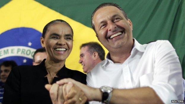 Marina Silva (L) with Eduardo Campos in Brasilia, October 5, 2013.