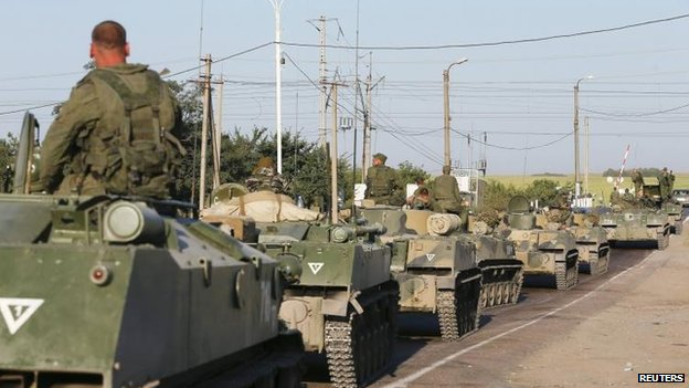 Russian armoured vehicles outside Kamensk-Shakhtinsky, 15 Aug
