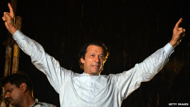Imran Khan leads protest march against the country's Pakistan Muslim League-Nawaz-led government in Islamabad on August 16, 2014