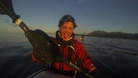 Sarah Outen during Alaska kayaking trek