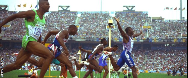 Linford Christie wins the 100m gold medal at the 1992 Olympic Games in Barcelona