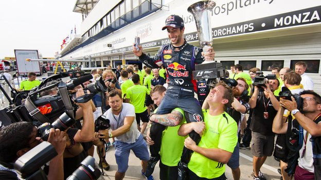 Daniel Ricciardo of Red Bull celebrates victory in the Hungarian Grand Prix.
