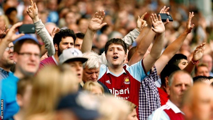 West Ham fans cheer on their team