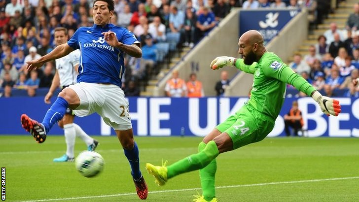 Leonardo Ulloa closes down Tim Howard