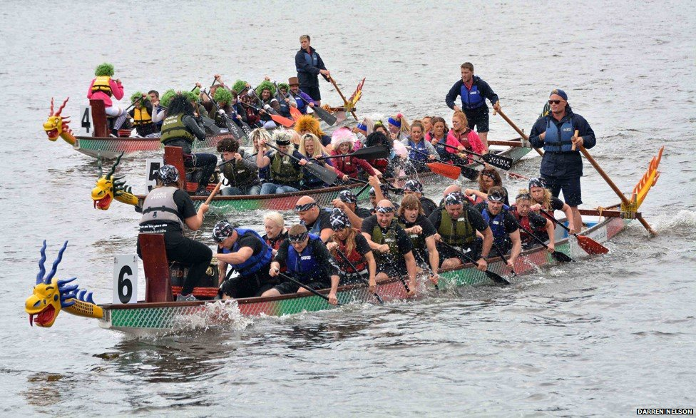Dragon boats in Salford Quays