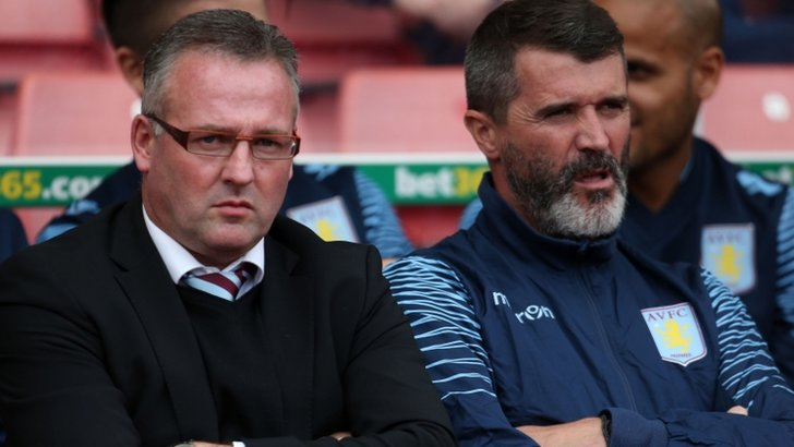 Aston Villa's manager Paul Lambert and assistant manager Roy Keane