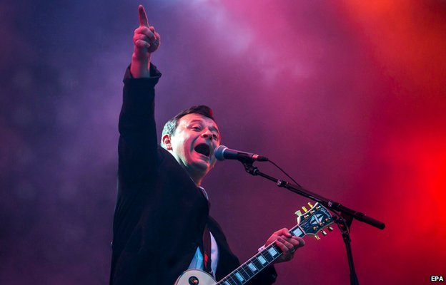 James Dean Bradfield of Welsh alternative rock band Manic Street Preachers performs during his concert at the 22nd Sziget (Island) Festival in Budapest