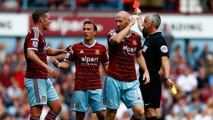 James Collins is sent off