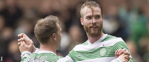 Celtic players Kris Commons and Jo Inge Berget