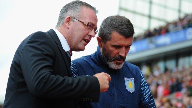 Aston Villa manager Paul Lambert (l) and assistant Roy Keane (r)