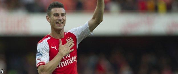 Laurent Koscielny scores for Arsenal
