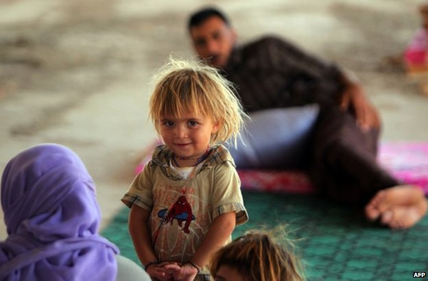 A Yazidi refugee girl in Dohuk, northern Iraq, 16 August