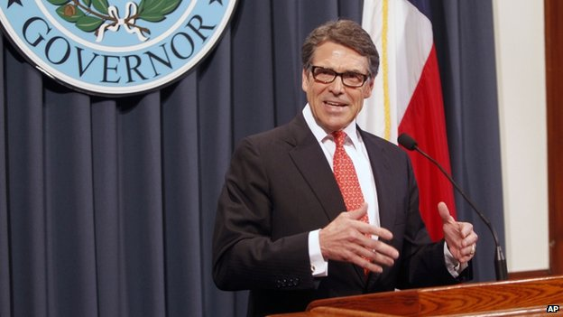 Governor Rick Perry makes a statement in Austin, Texas on 16 August 2014