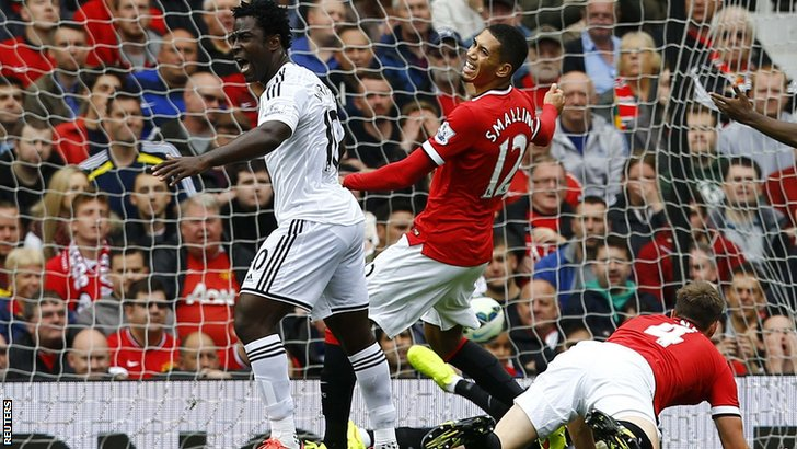 Swansea City score against Manchester United