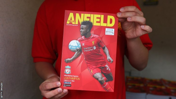 The match programme is displayed prior to the Barclays Premier League match between Liverpool and Southampton at Anfield