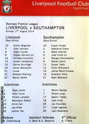 Liverpool Southampton team sheet