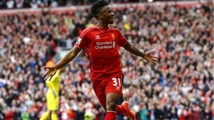 Liverpool's Raheem Sterling celebrates after scoring a goal against Southampton