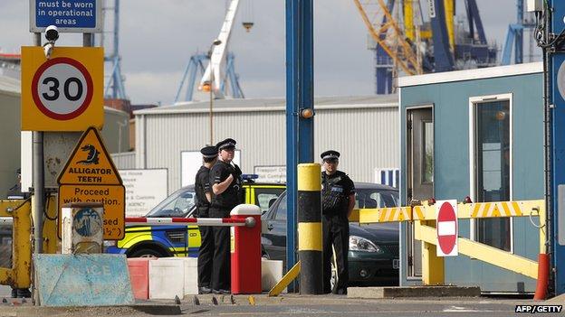 Police at Tilbury Docks on August 16