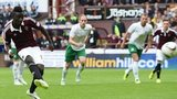 Prince Buaben scores from the spot for Hearts
