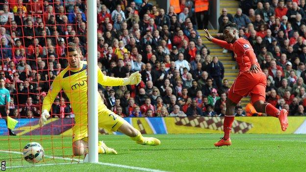 Daniel Sturridge scores for Liverpool against Southampton