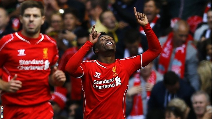 Liverpool's Daniel Sturridge celebrates after scoring