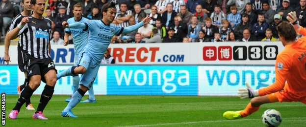 David Silva scores for Manchester City