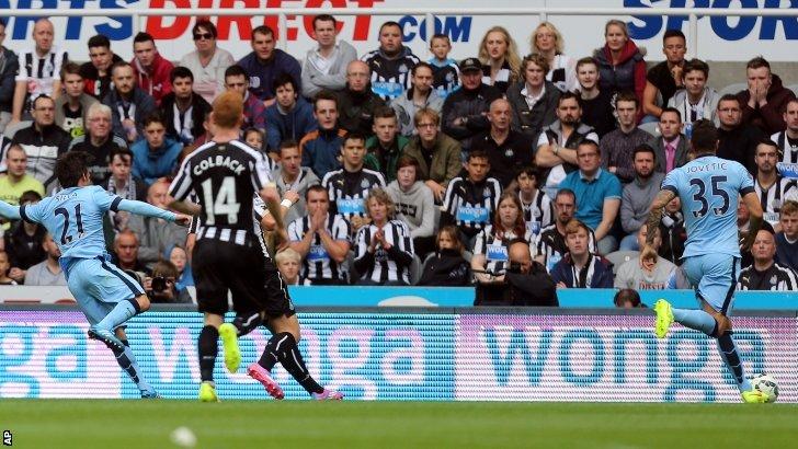 Manchester City's David Silva, scores